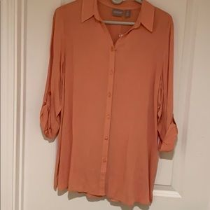 Chico's coral shirt with roll up sleeves.